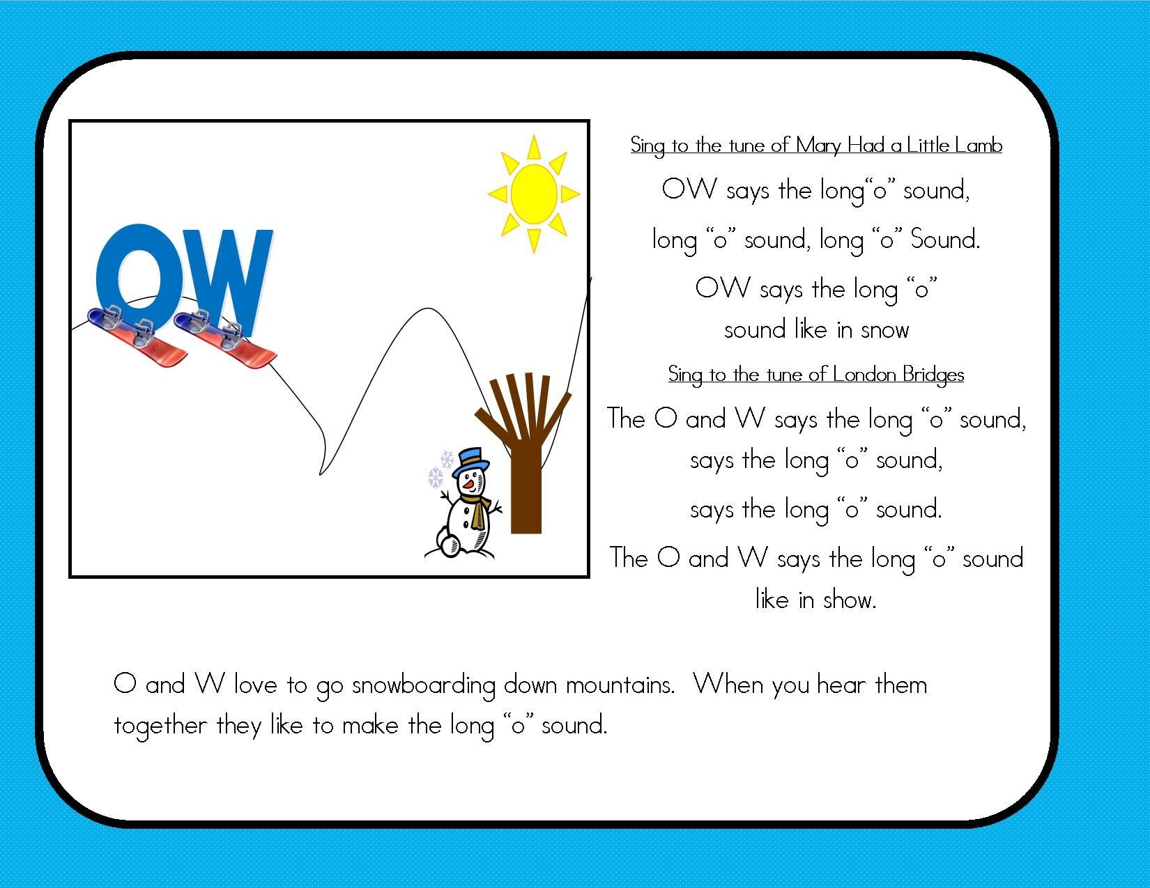 Oa Ow Story Wall Sign Puzzle Sort Word And Picture Sort