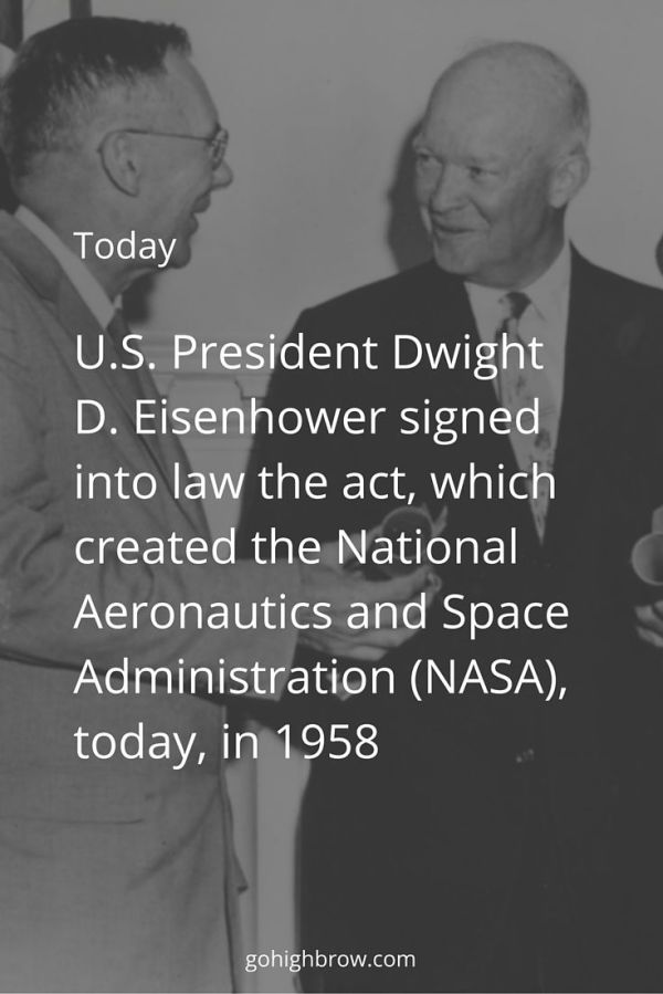 US President Dwight D Eisenhower signed into law the