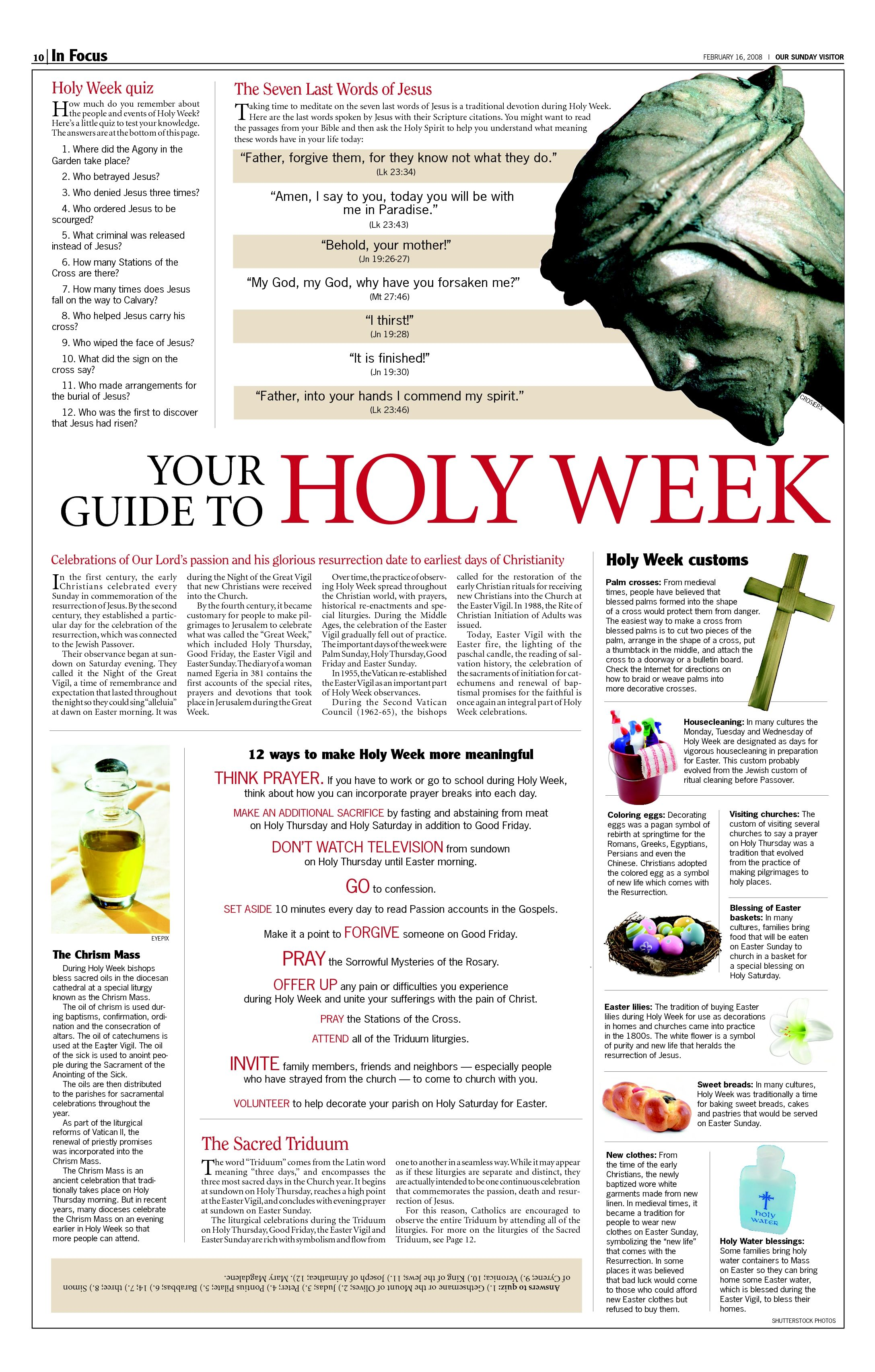 Holy Week This Is A Catholic Document But Has Some Great