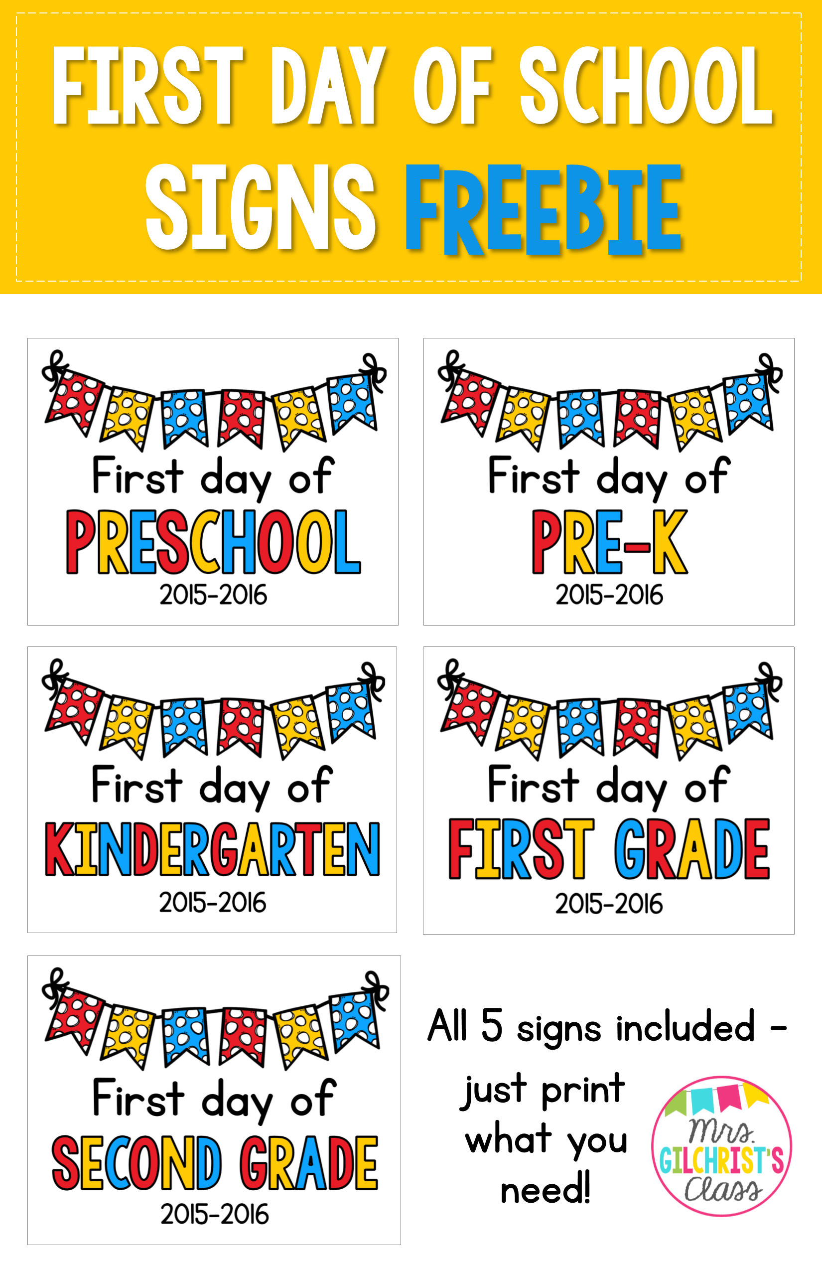 Updated For Free First Day Of School Signs Includes Preschool Pre K Kindergarten
