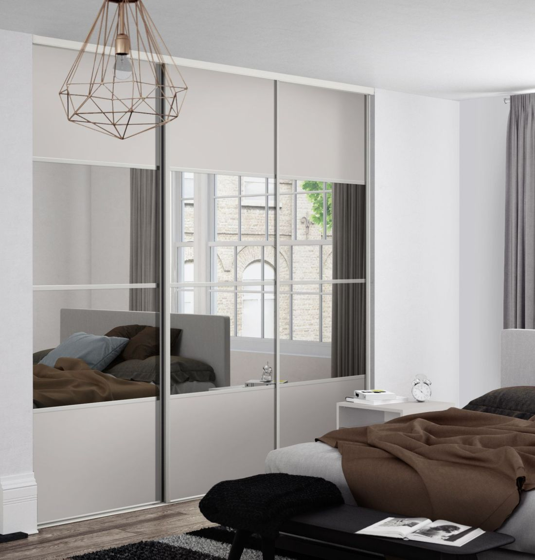 Classic 4 panel sliding wardrobe doors in cashmere and