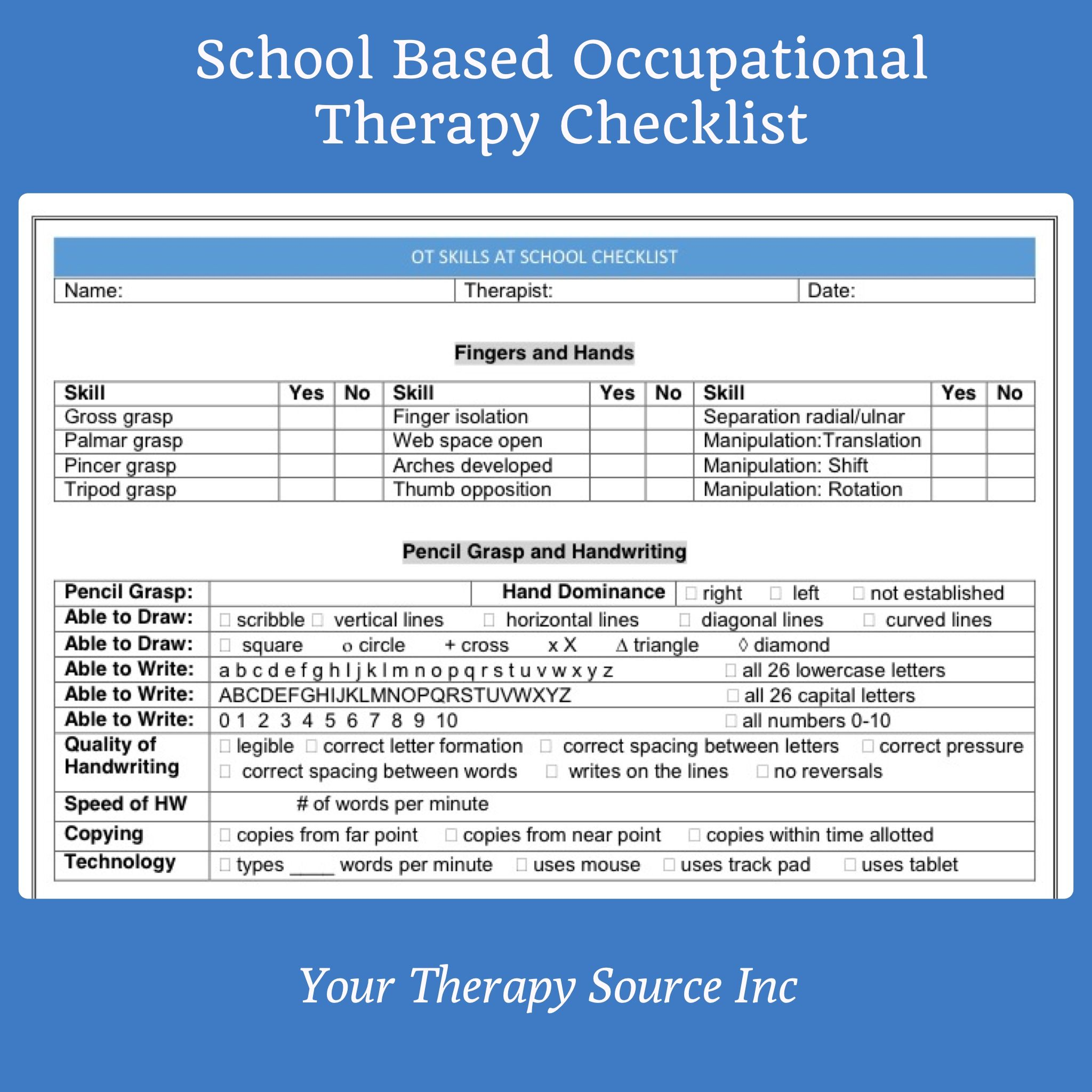 School Based Occupational Therapy Checklist