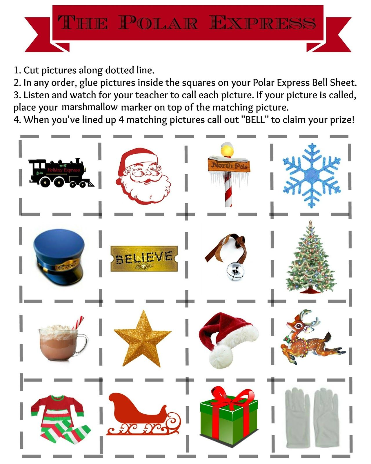 The Polar Express Bell Bingo Free Printables For Your