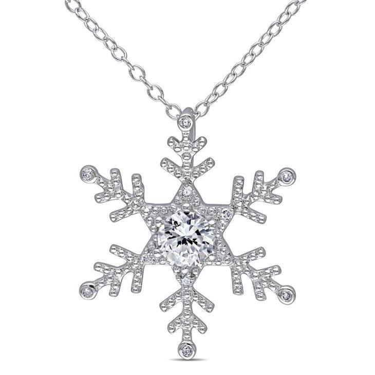 Sterling Silver CT Diamond TW and CT TGW Created White