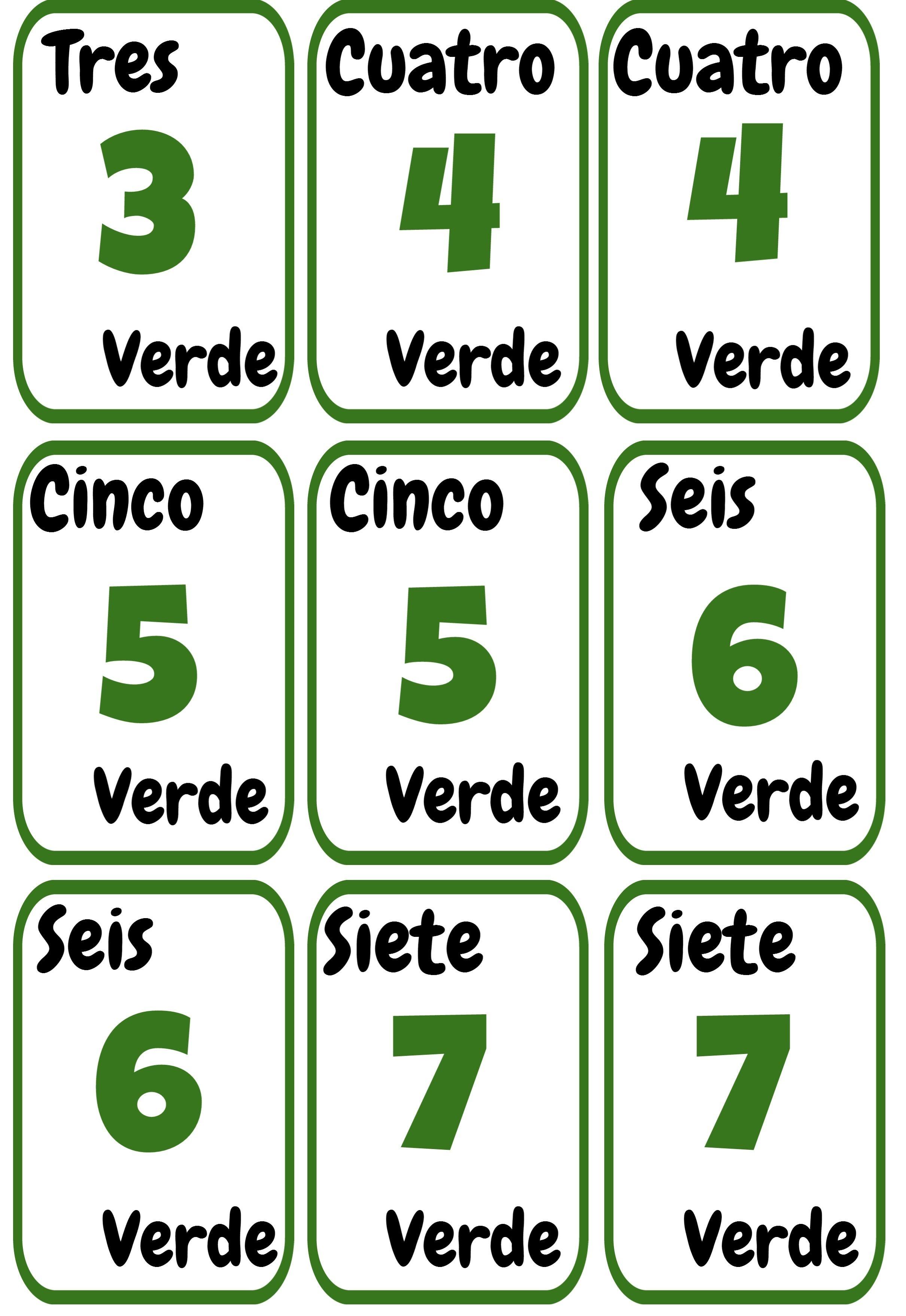 Cartas Uno Imprimibles Para La Clase De Espanol Ele Colores Y Numeros