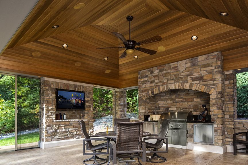 covered patio with fireplace and grill google search lakeside patio landscape ideas on outdoor kitchen tv id=69843