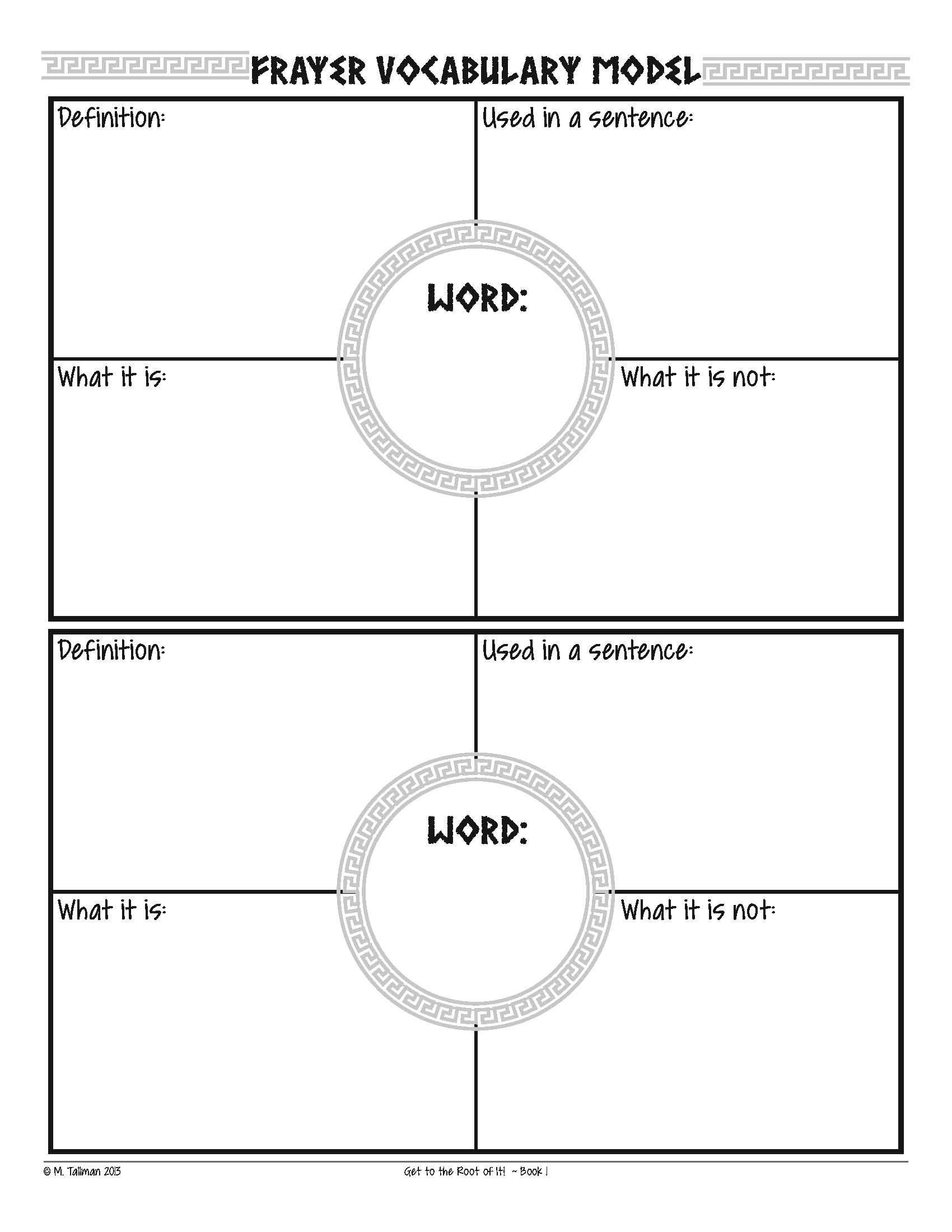 Free Frayer Model Vocabulary Graphic Organizers