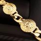 Medusa head gold round medallion cuban bracelet medusa head and medusa