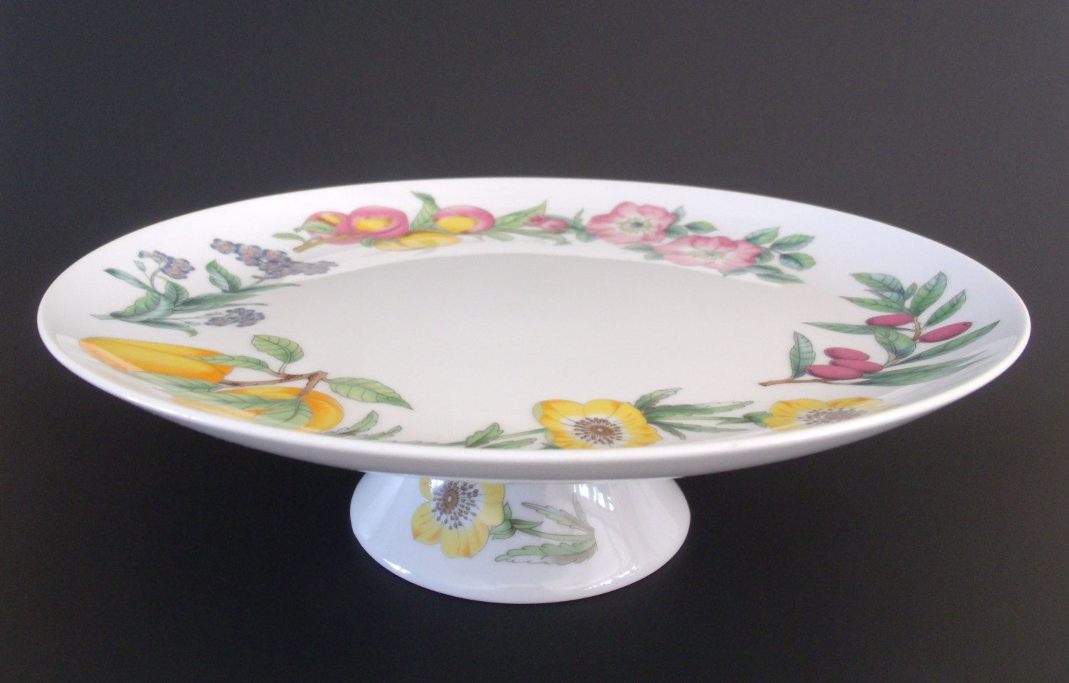 Shafford Porcelain Pedestal Cake Plate Fruit Flowers