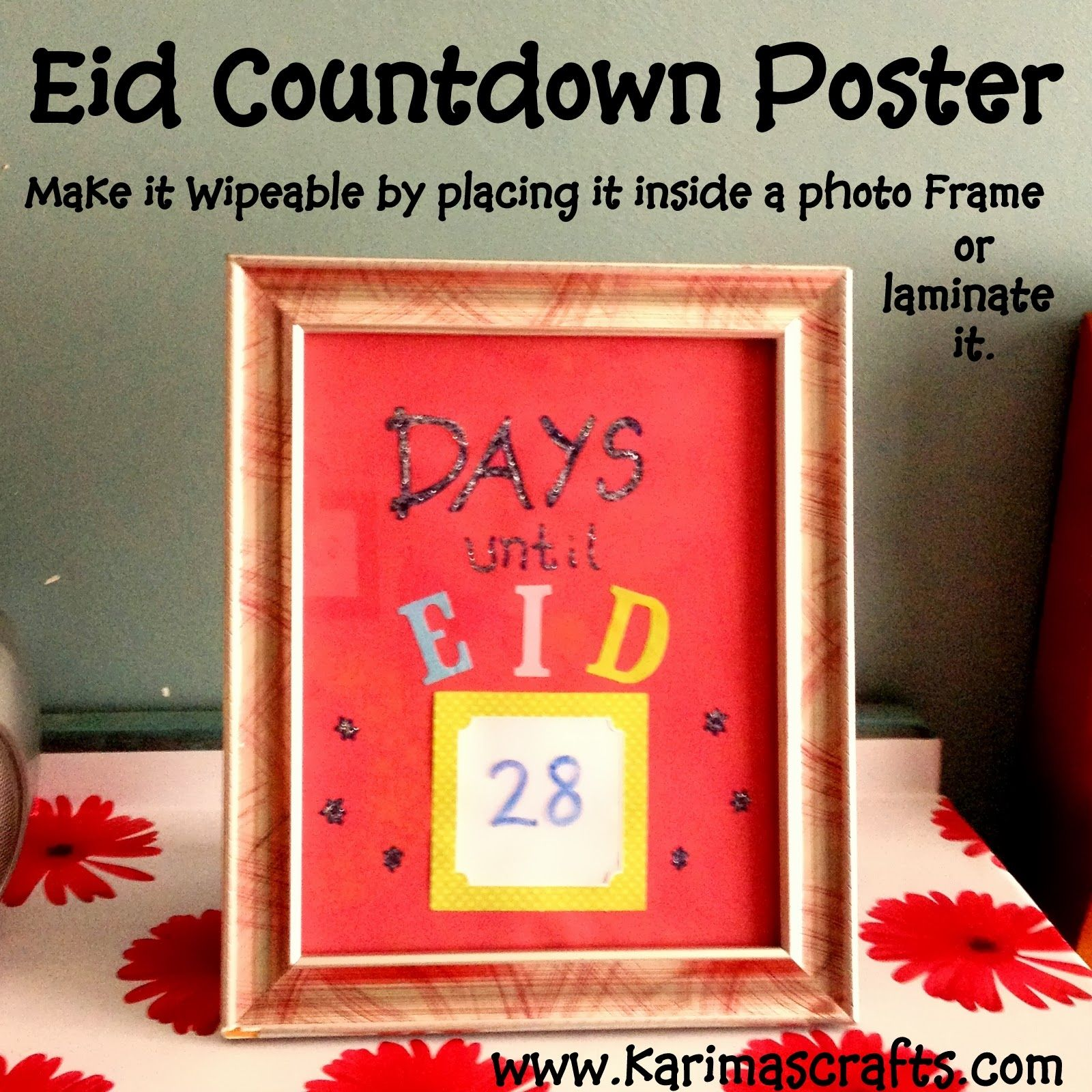 Eid Countdown Poster Wipeable From 30 Days Of Ramadan