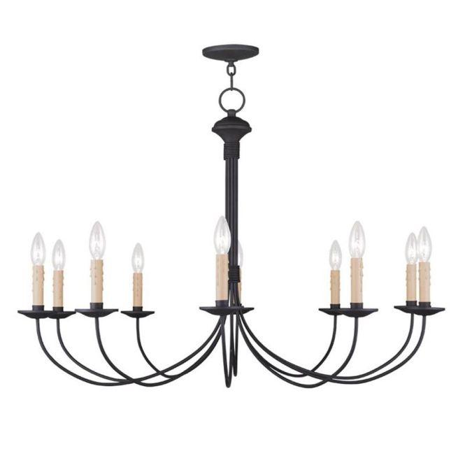 Livex Lighting Heritage 38 In 10 Light Black Candle Chandelier