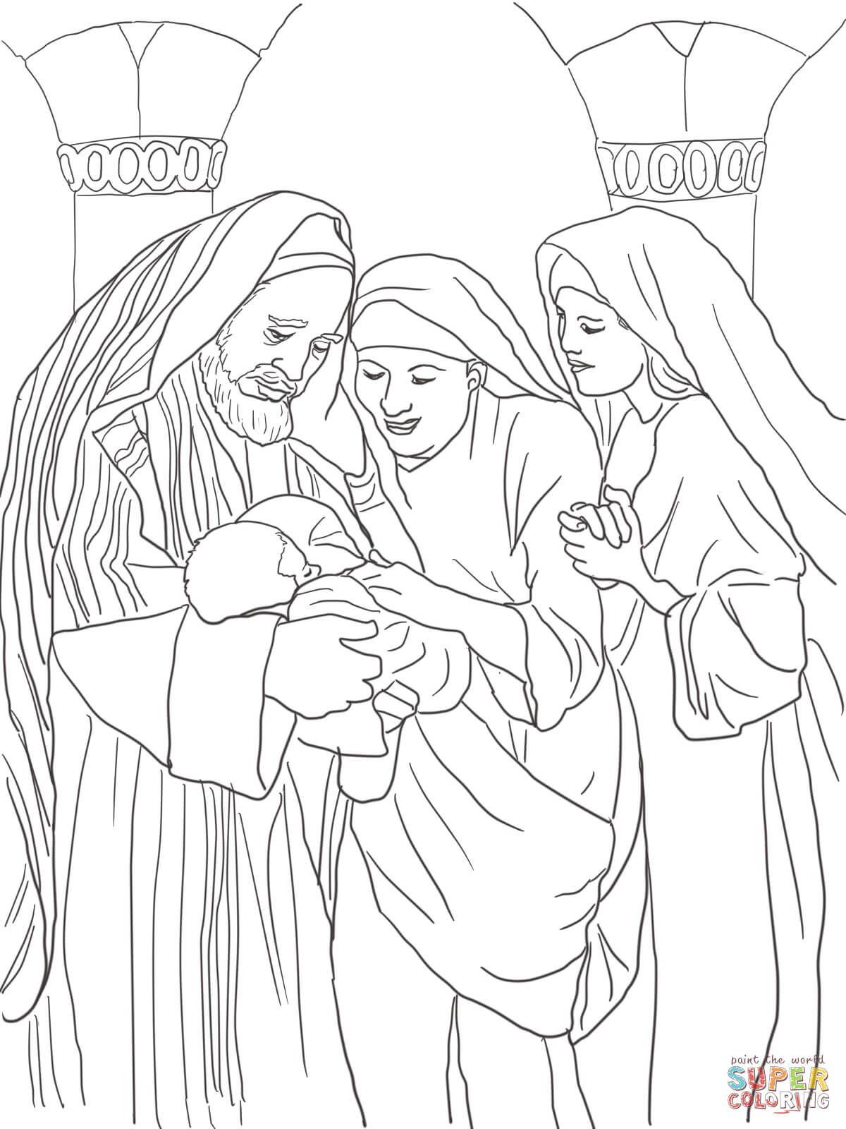 Zechariah Elizabeth And Baby John The Baptist Super Coloring