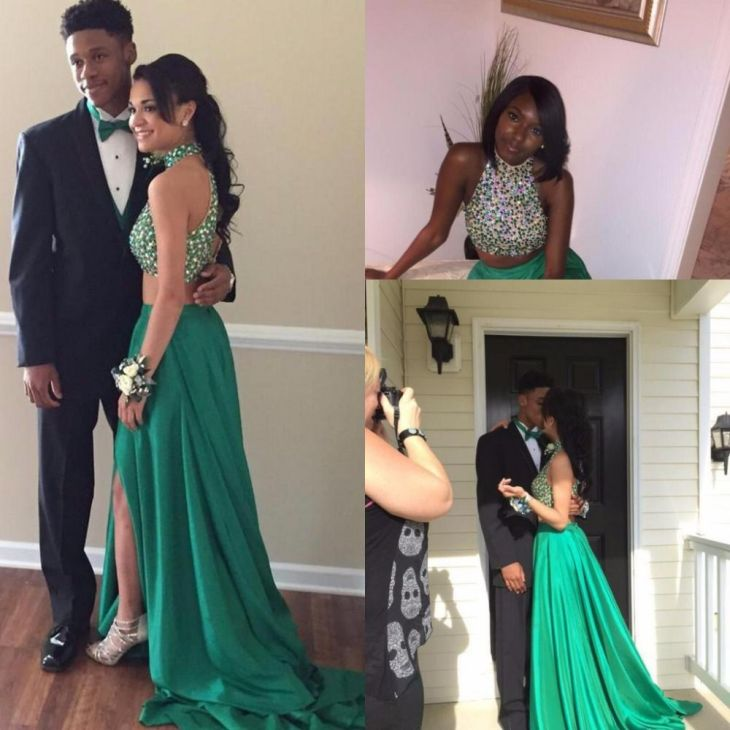 Click to Buy ucuc Sexy Emerald Green  Piece Prom Dresses  Halter