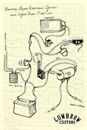 LOWBROW CUSTOMS Motorcycle wiring diagram  boyer, electronic ignition and single dualfire coil