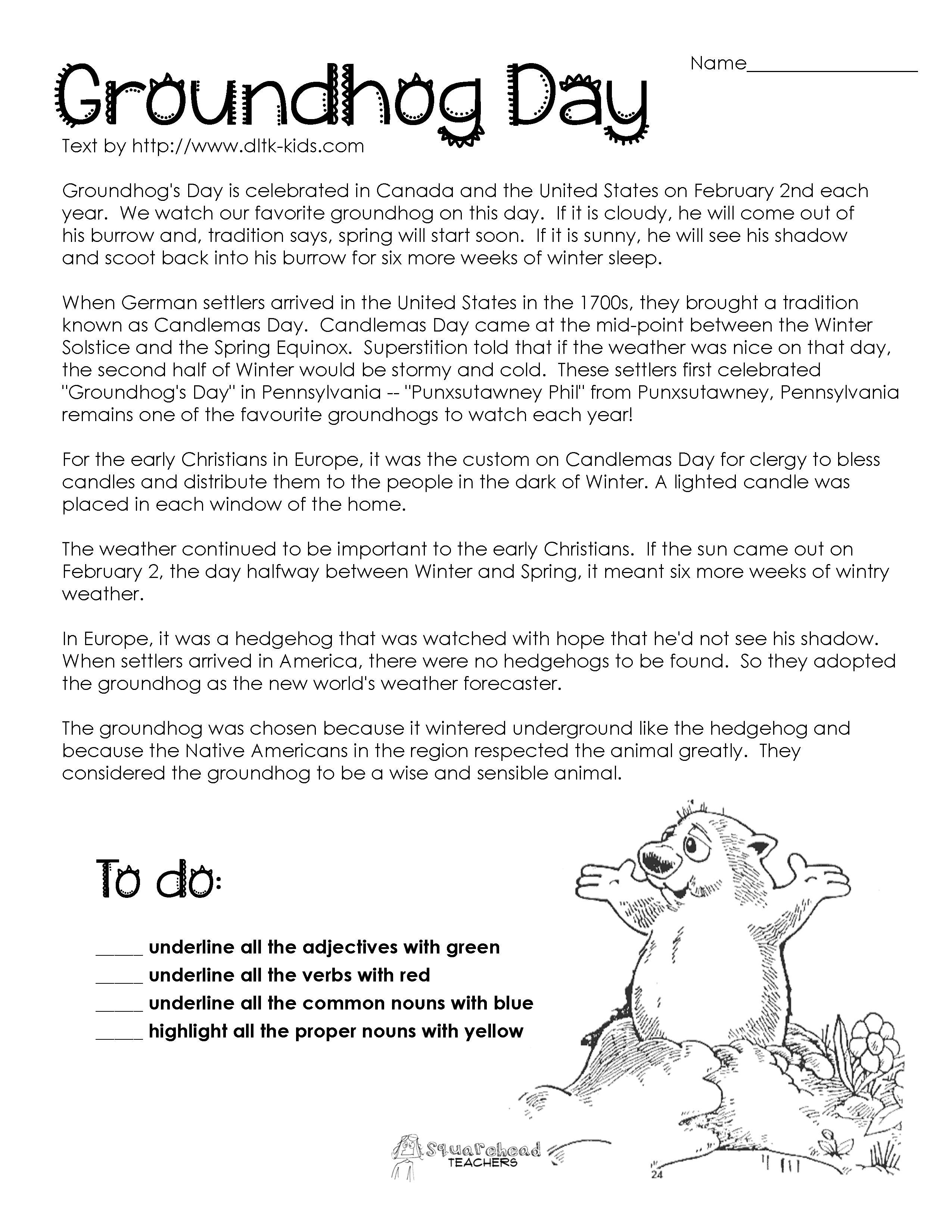 Groundhog Day Comprehension Worksheets