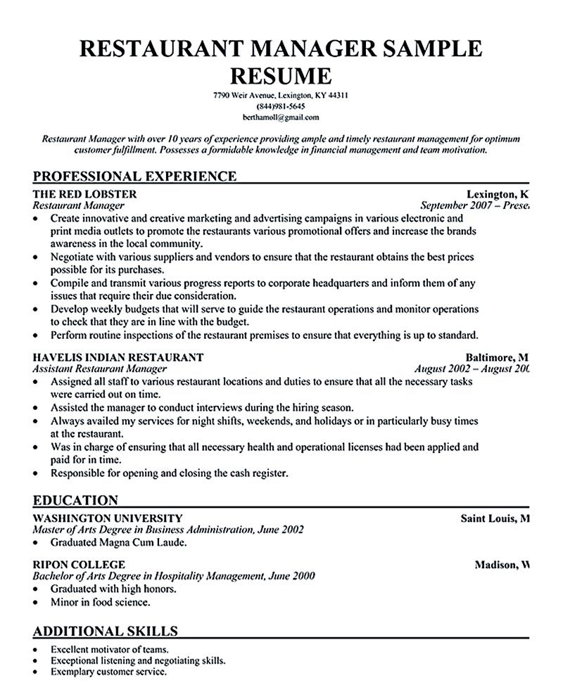 Restaurant Istant Manager Resume Sample Fieldstation Co  Sample Resume For Restaurant Manager