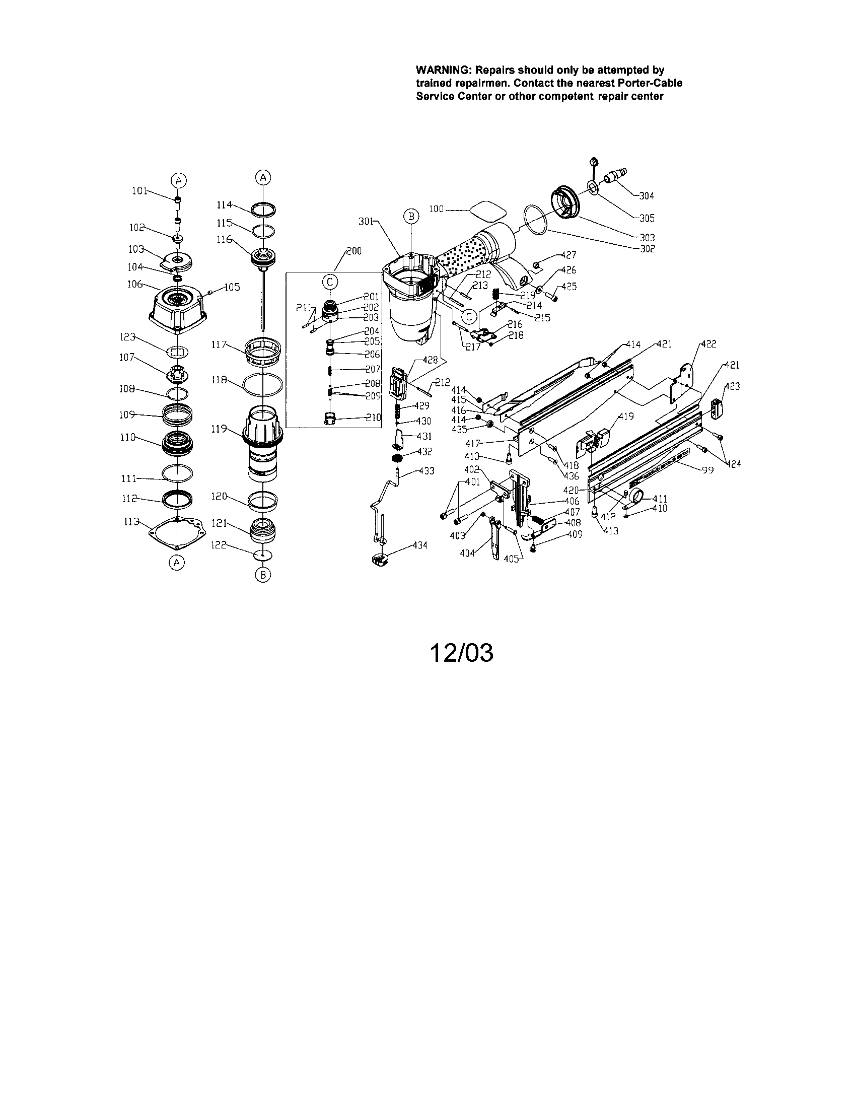 Finish Nailer Diagram Amp Parts List For Model Fn250b Porter Cable Parts Nailer Parts