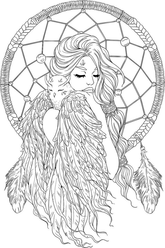 Lineartsy Free Coloring Page Dreamcatcher Lined