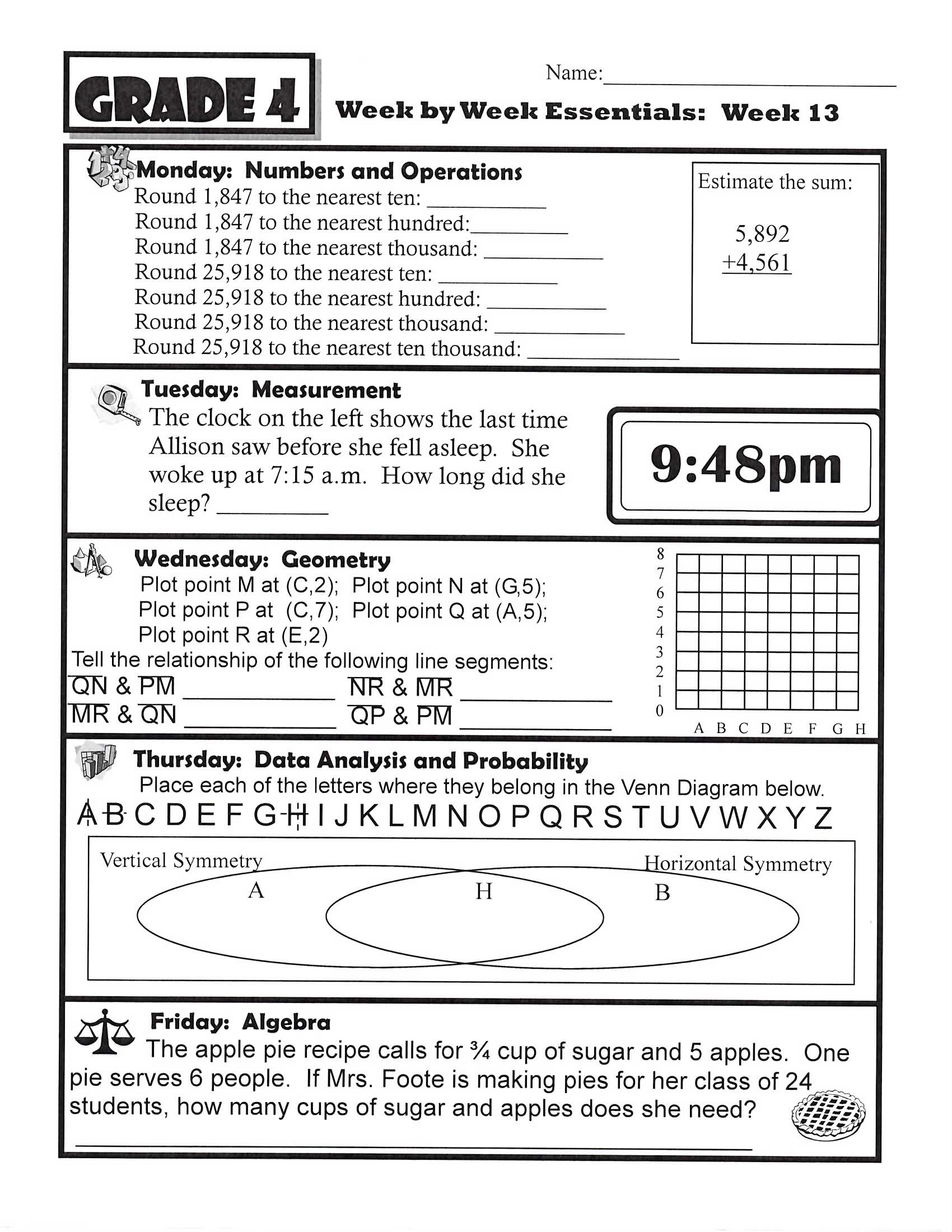 4th Grade Homework Sheets