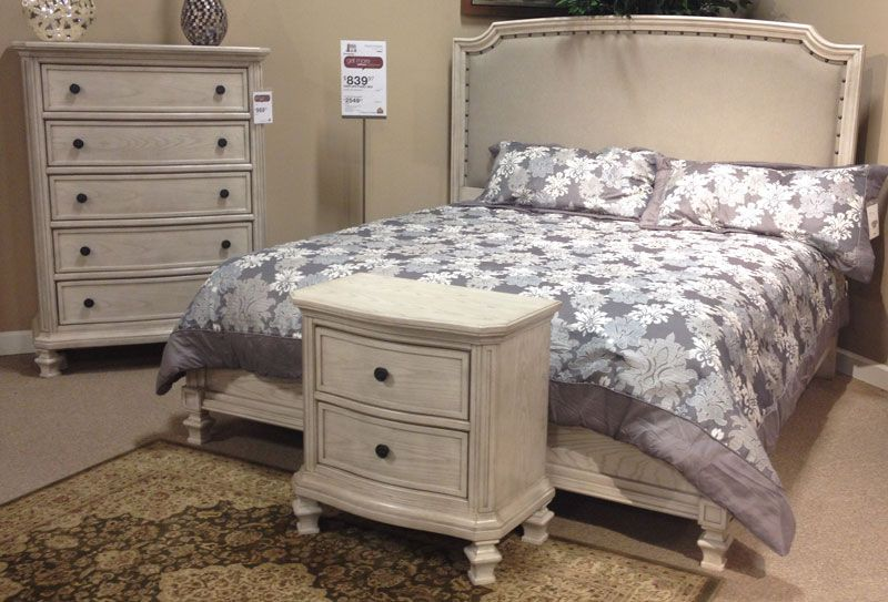 Demarlos Parchment White King Panel Bed With The Rustic
