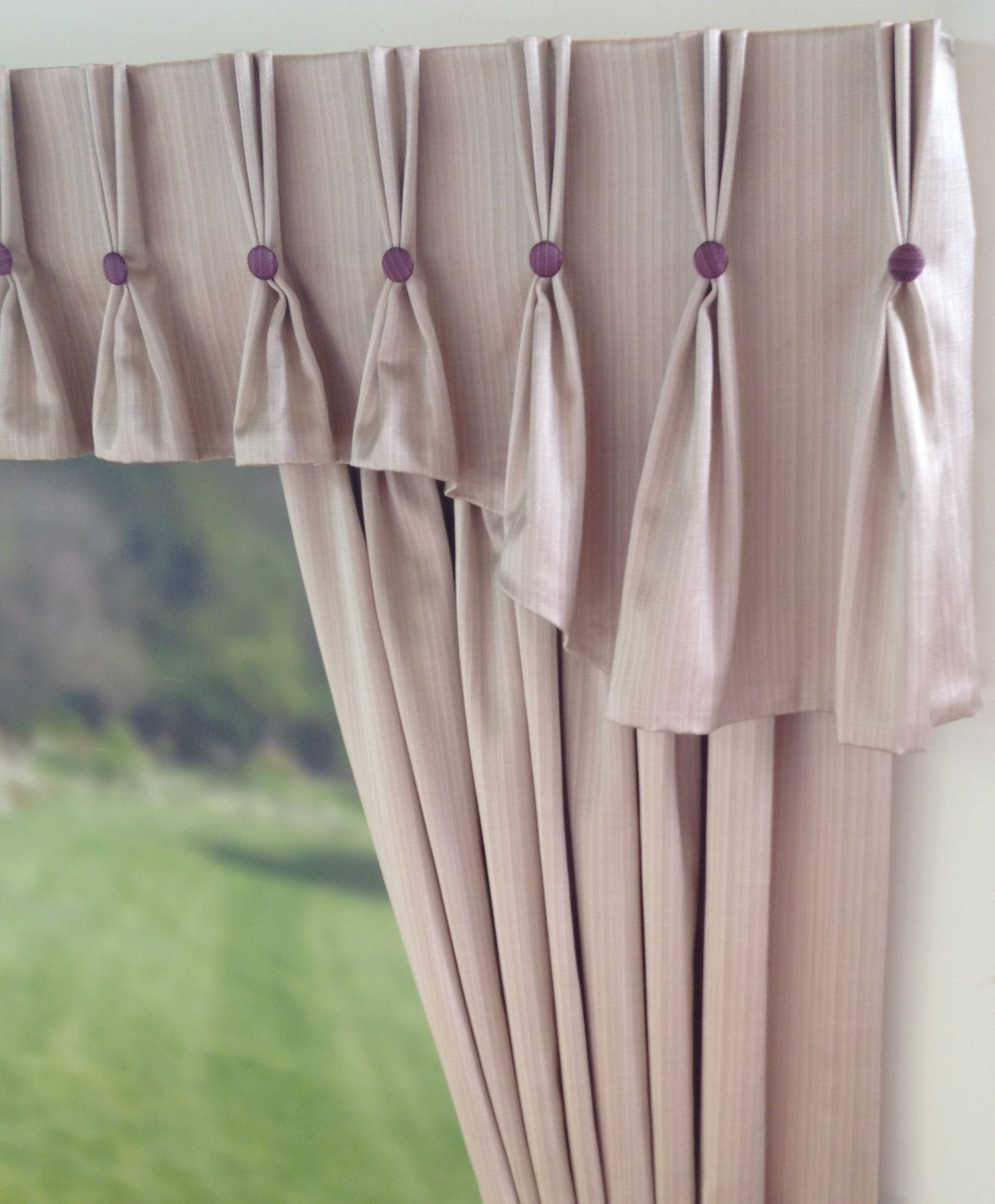 Shaped Pinch Pleat Curtain Valance With Buttons