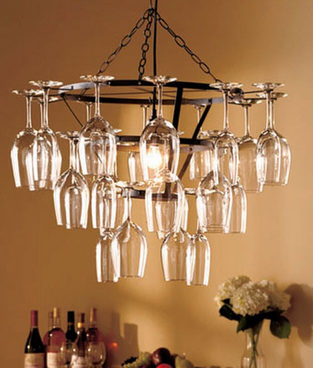 25 Glass Chandelier Wine Rack Bar Holder Hanging Kitchen Light Ceiling Fixture Contemporary