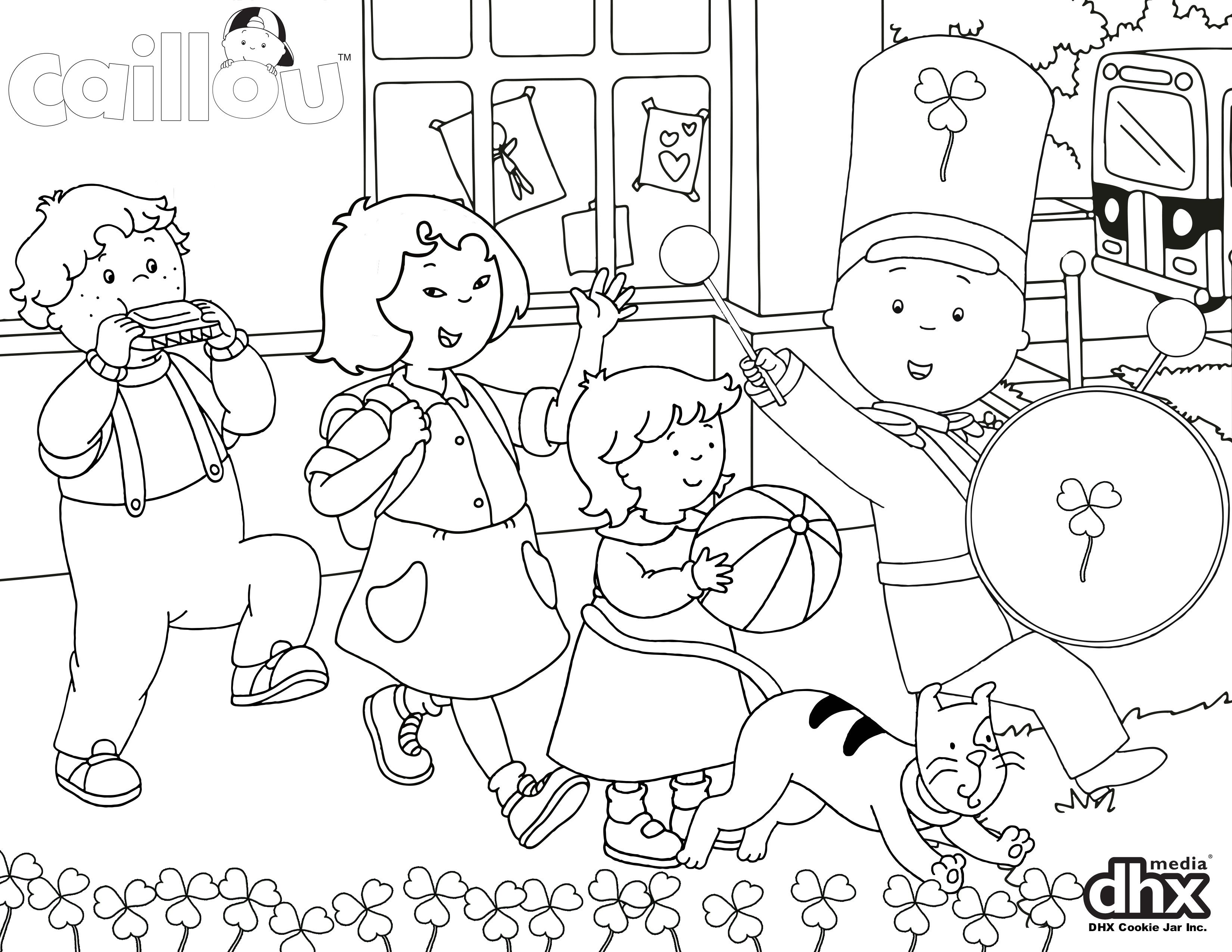 Celebrate With Your Little One And This Caillou Parade Coloring Page Bit 1bpjuds