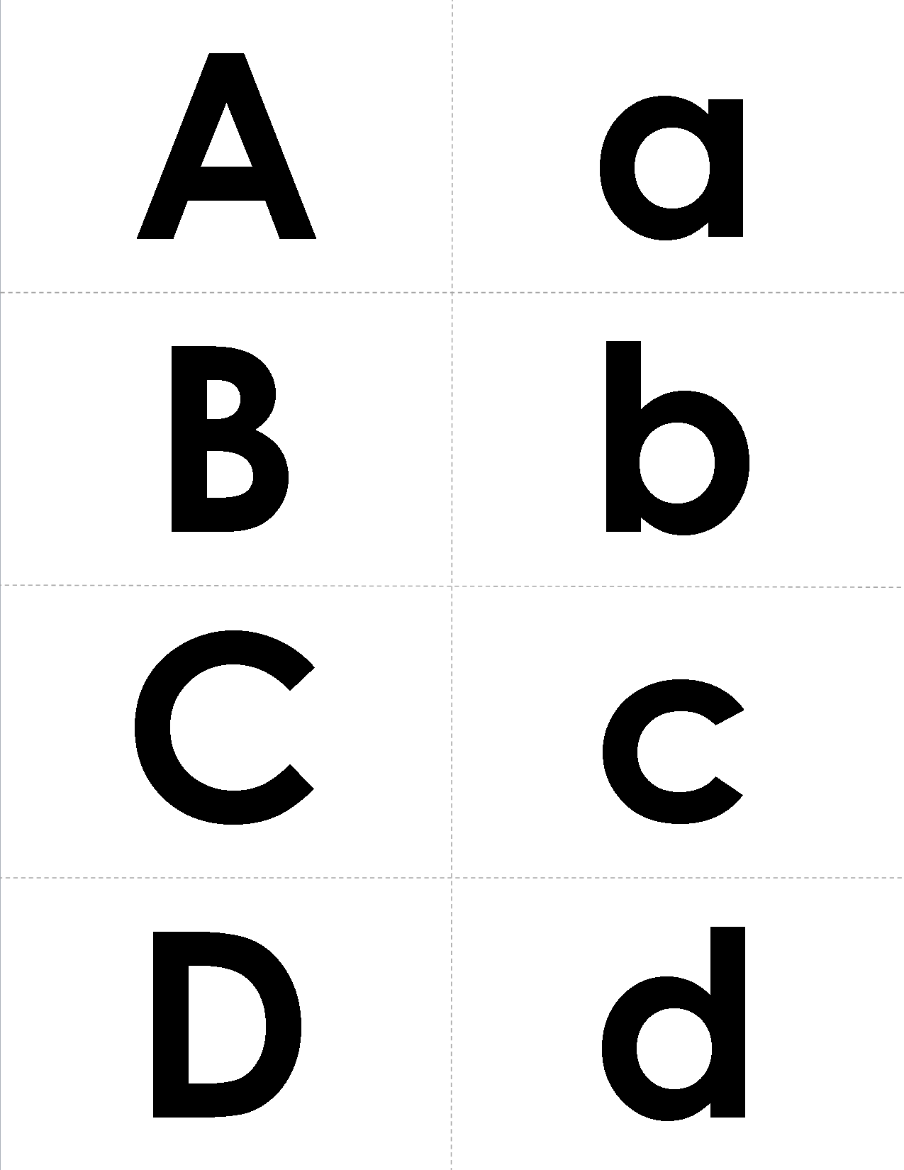 A Set Of Letter Matching Cards In A Simple But Bold Font