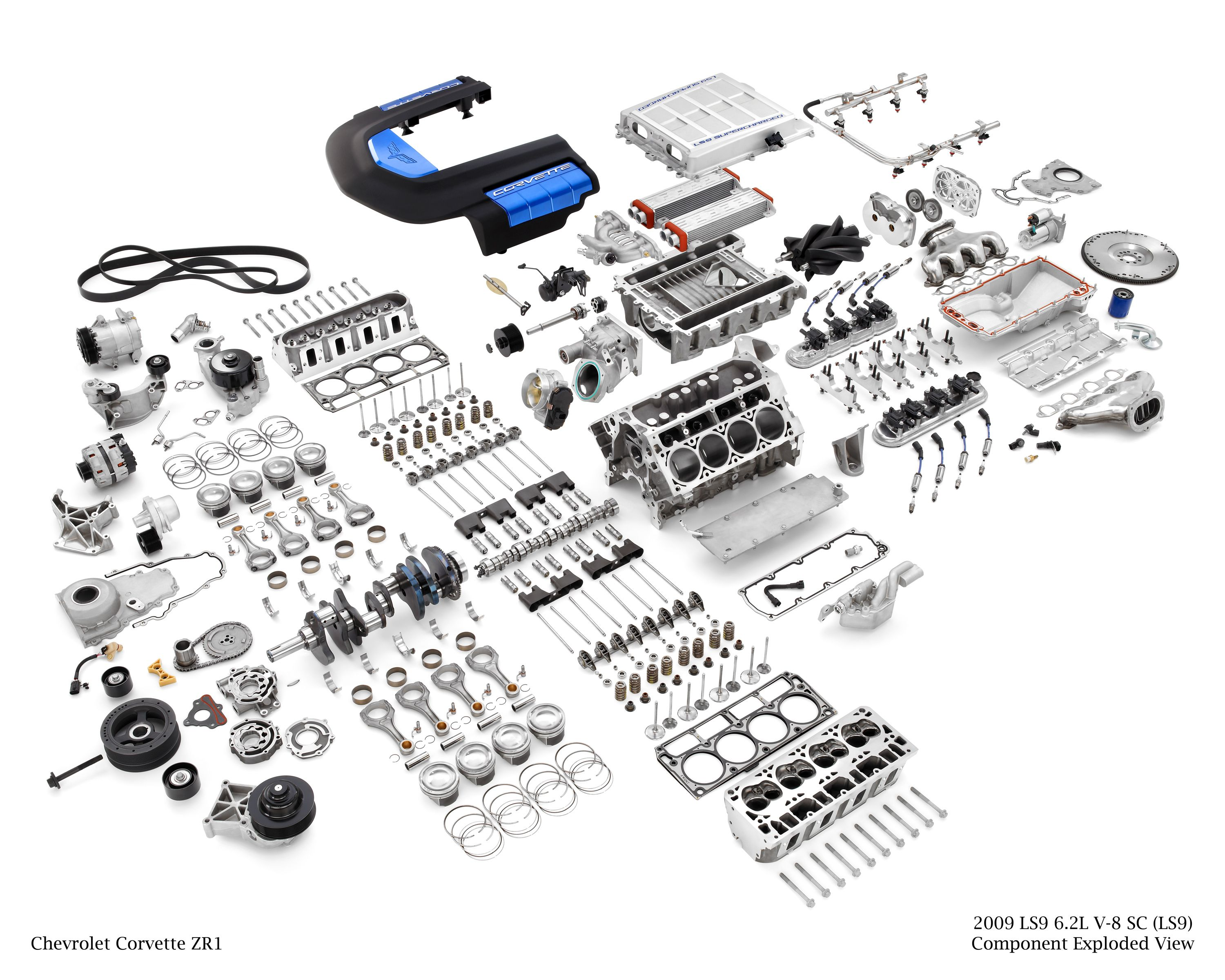 Corvette Zr1 Ls9 Supercharged 6 2l V8 Engine Exploded View