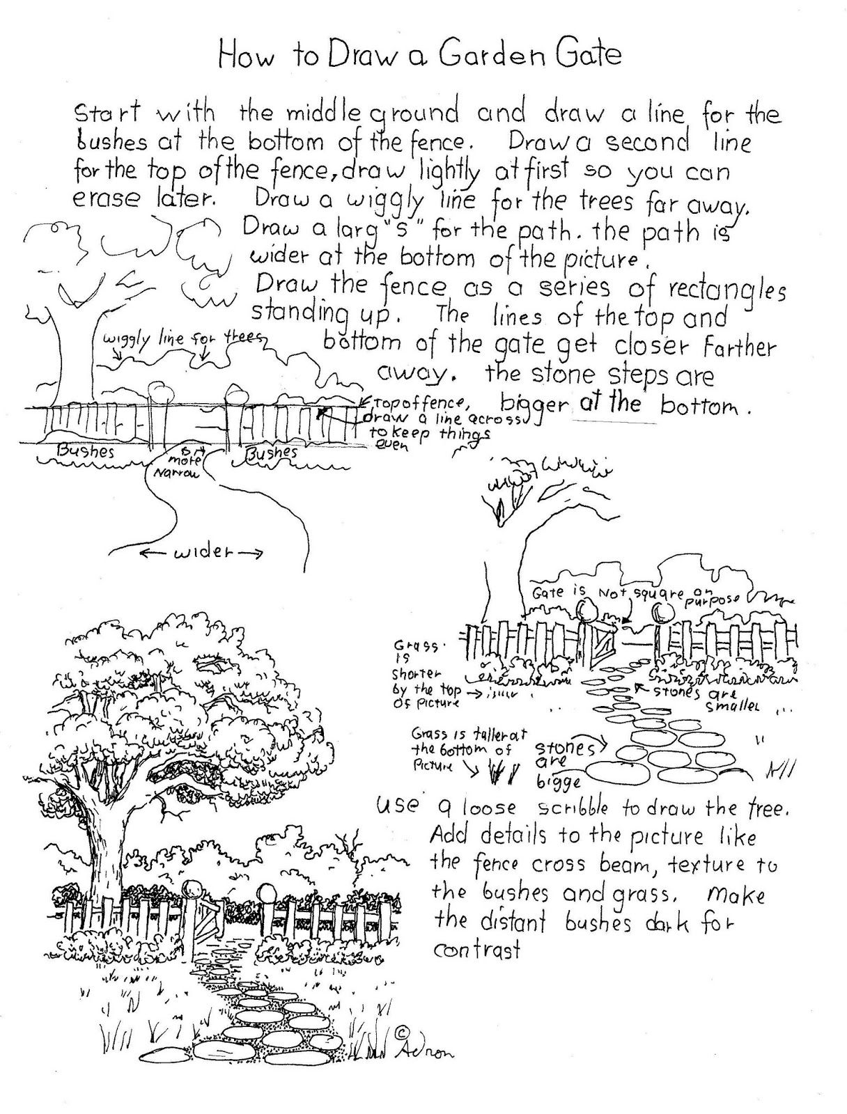 How To Draw A Garden Gate Worksheet