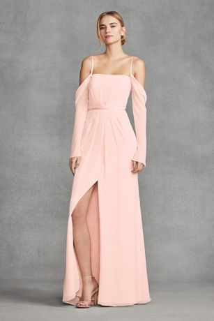 V Neck Halter Gown with Sash Style VW360214   Cold shoulder  Chiffon     V Neck Halter Gown with Sash Style VW360214   Cold shoulder  Chiffon  bridesmaid dresses and Romantic