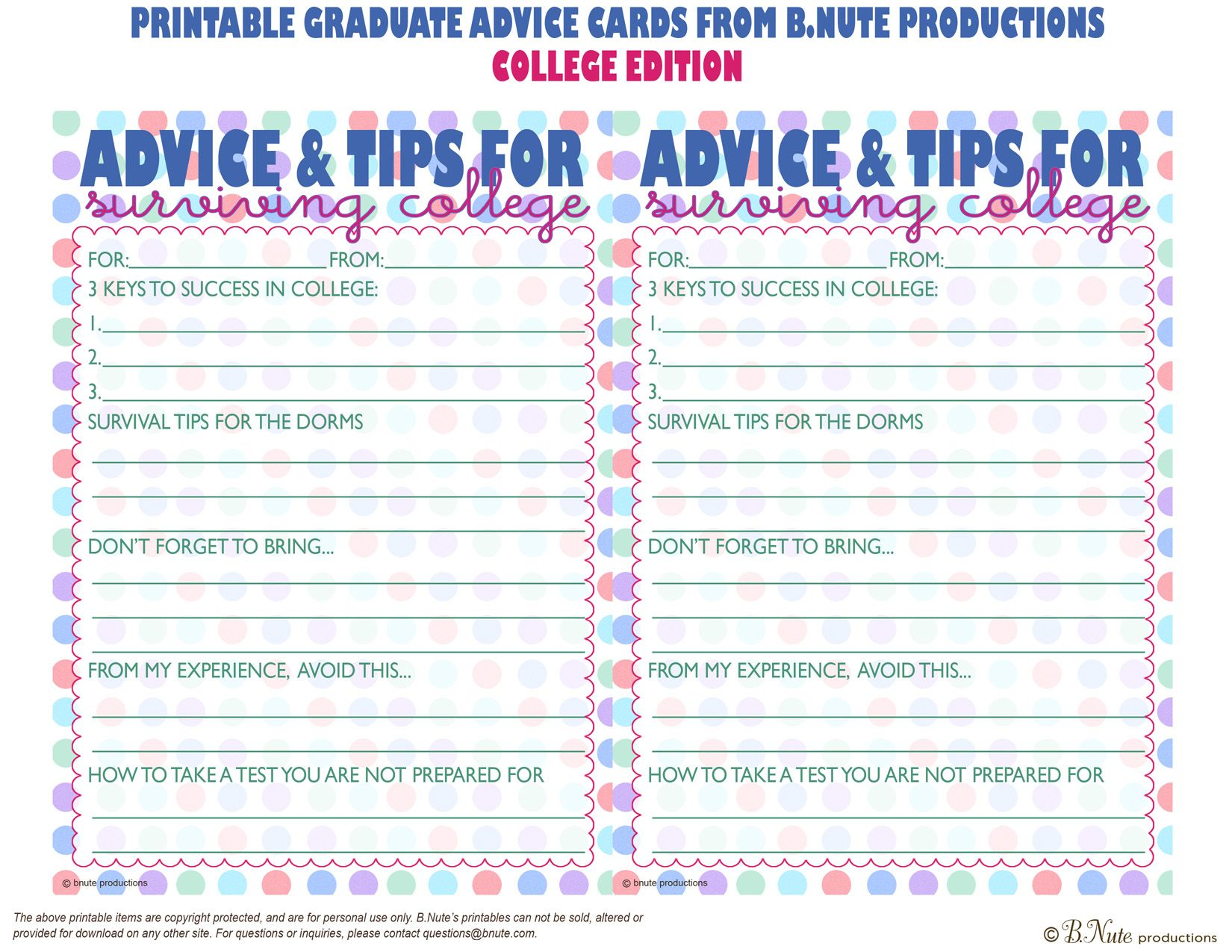 Bnute Productions Free Printable Graduate Advice Cards