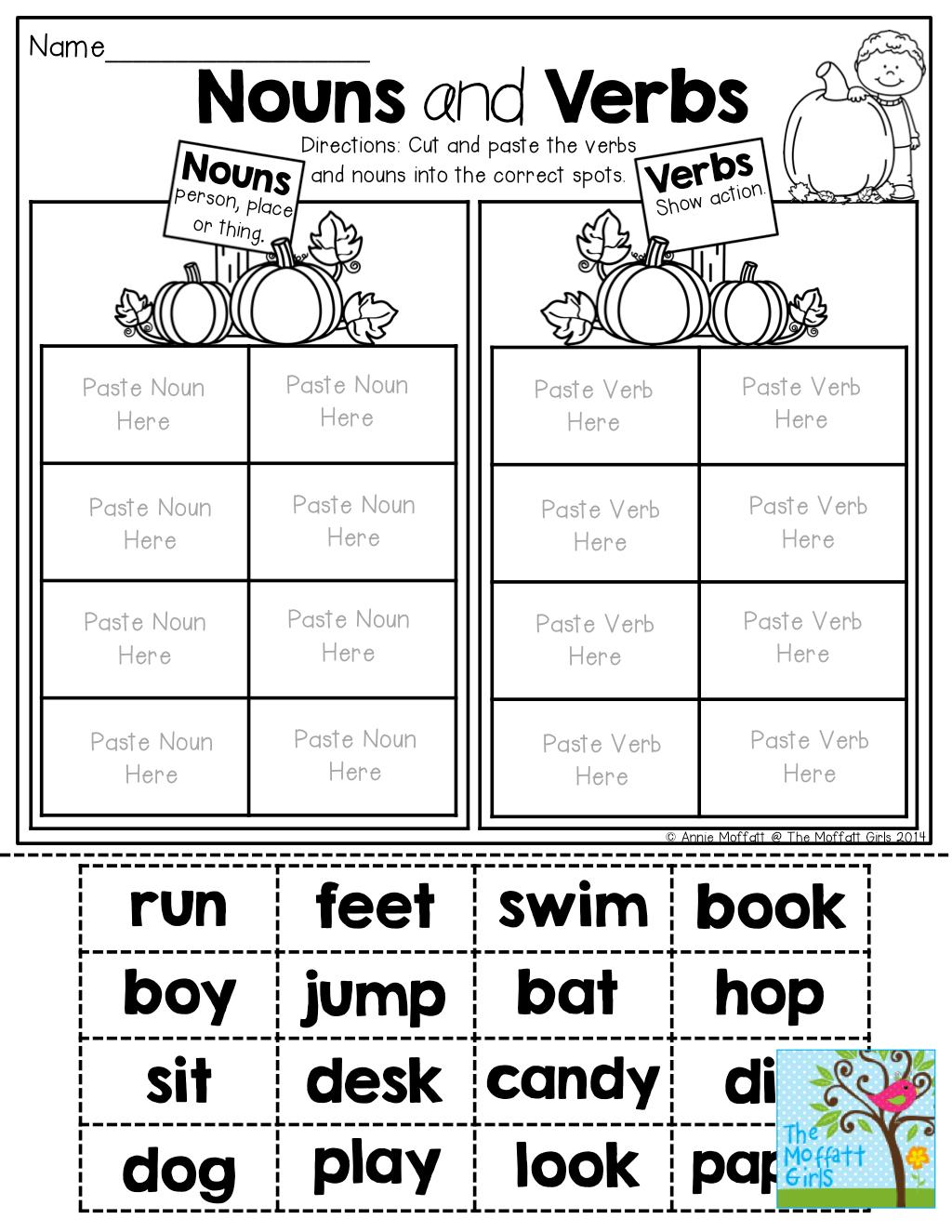 Verb Worksheets For Kindergarten