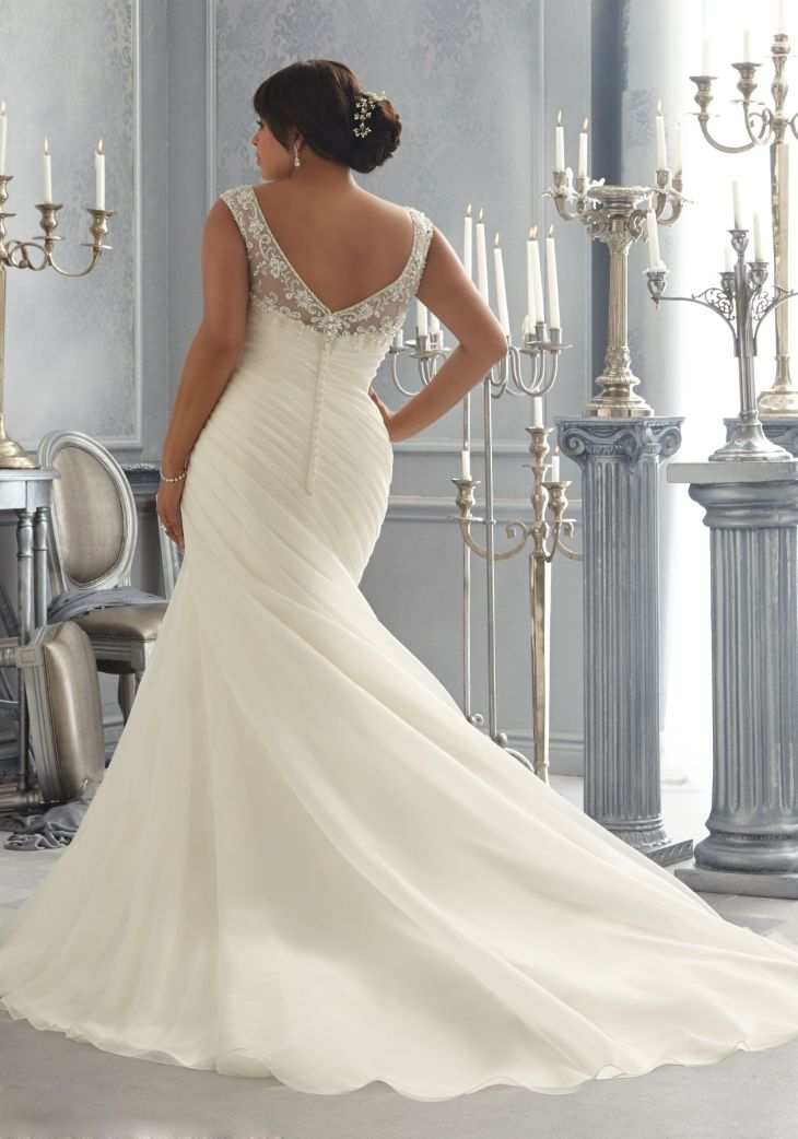 Crystal Beaded Embroidery on an Organza Plus Size Wedding Dress