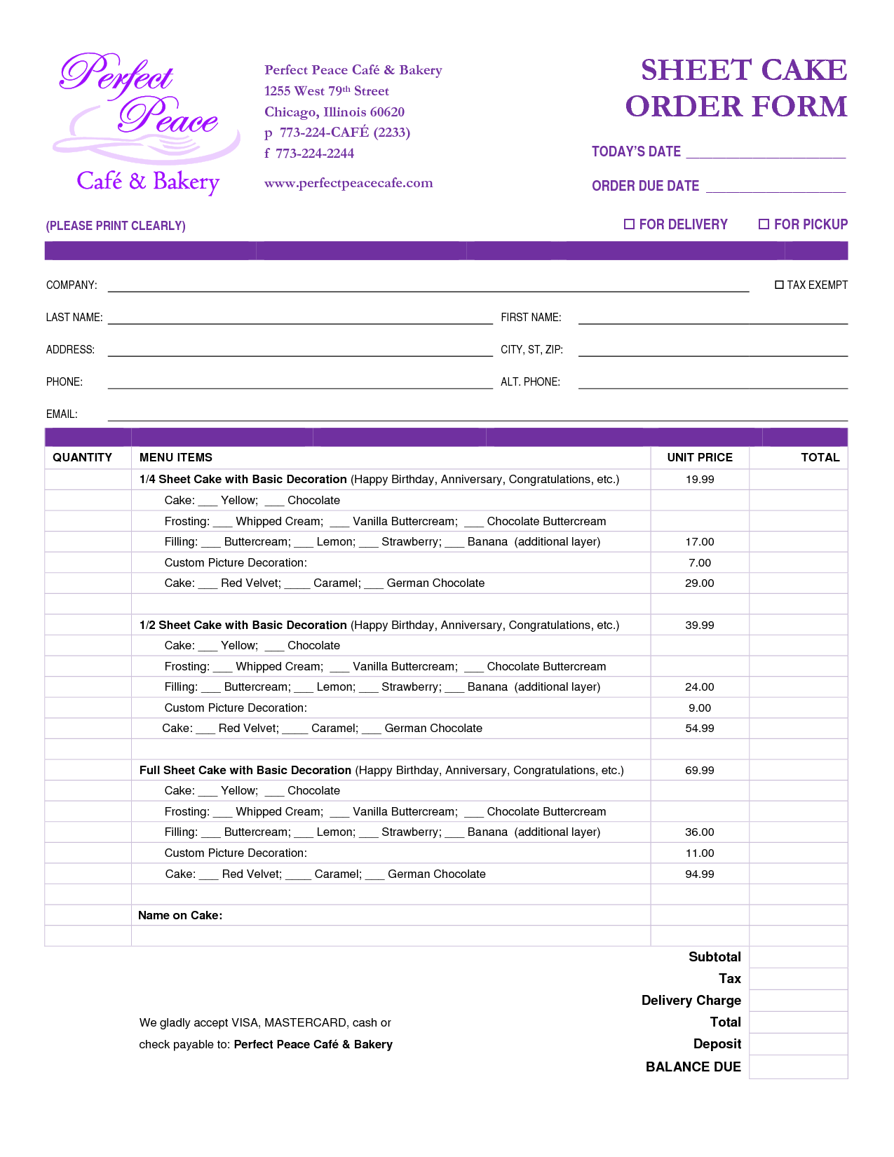 Cake Order Form Template Free Download