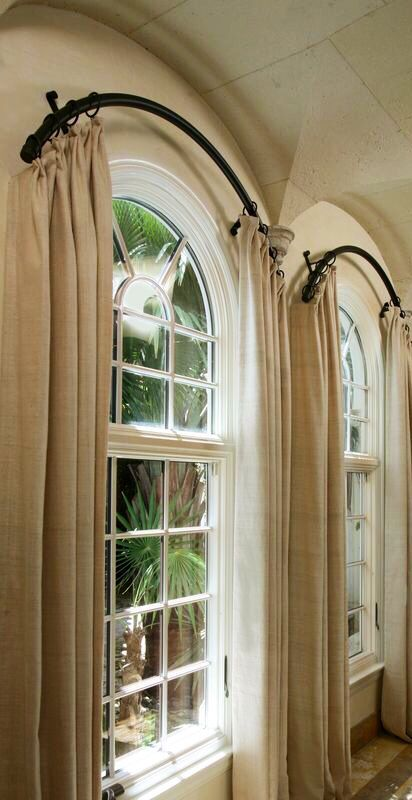 Panels On A Curved Rod Use Curved Shower Curtain Rod On End Cabin Pinterest Arch Windows