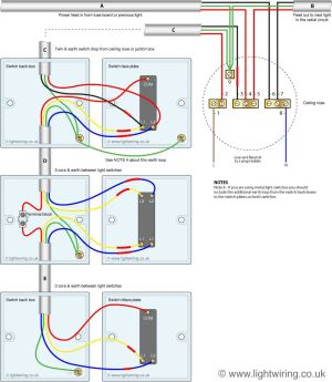 Three way light switching circuit diagram (old cable