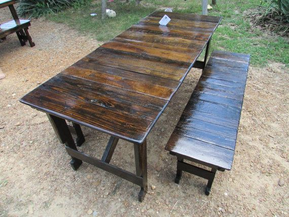 SaVe!! READY TO SHIP! Table & Bench Set, Reclaimed Wood