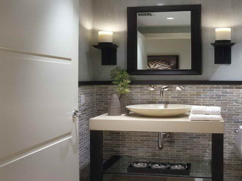 Small Powder Room Decorating Ideas With Black Frame Mirror