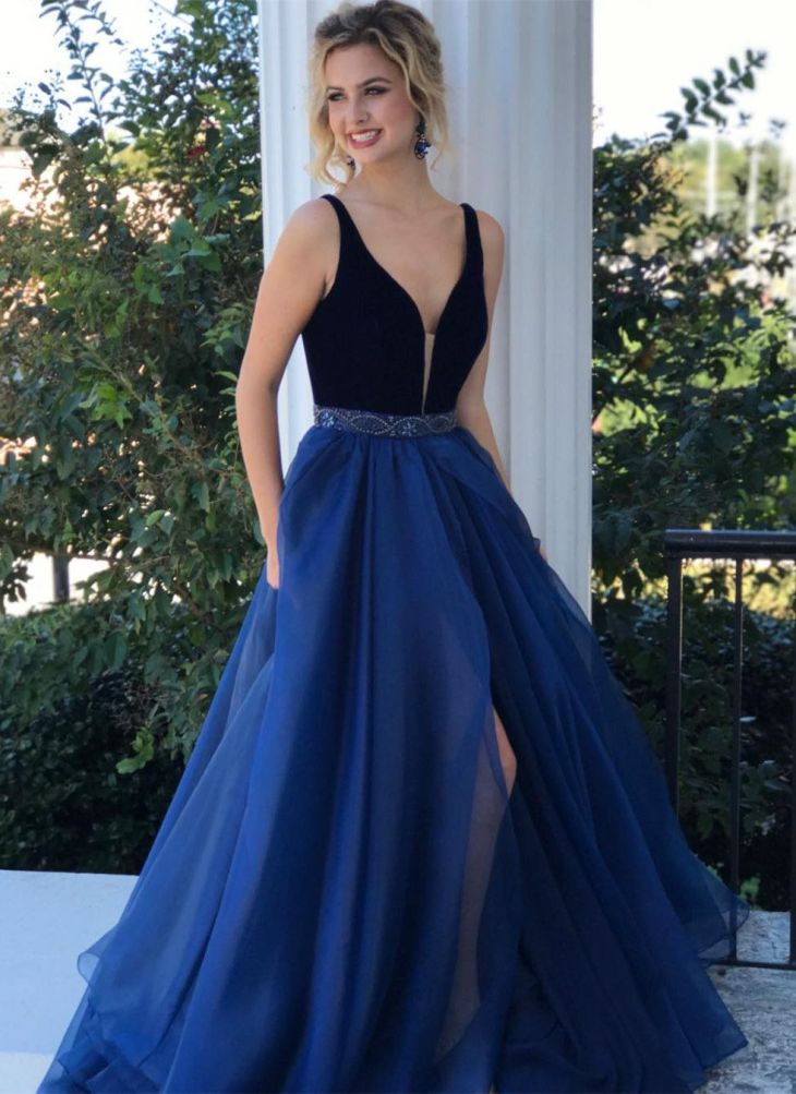 elegant navy blue long prom dress with slit long prom dress