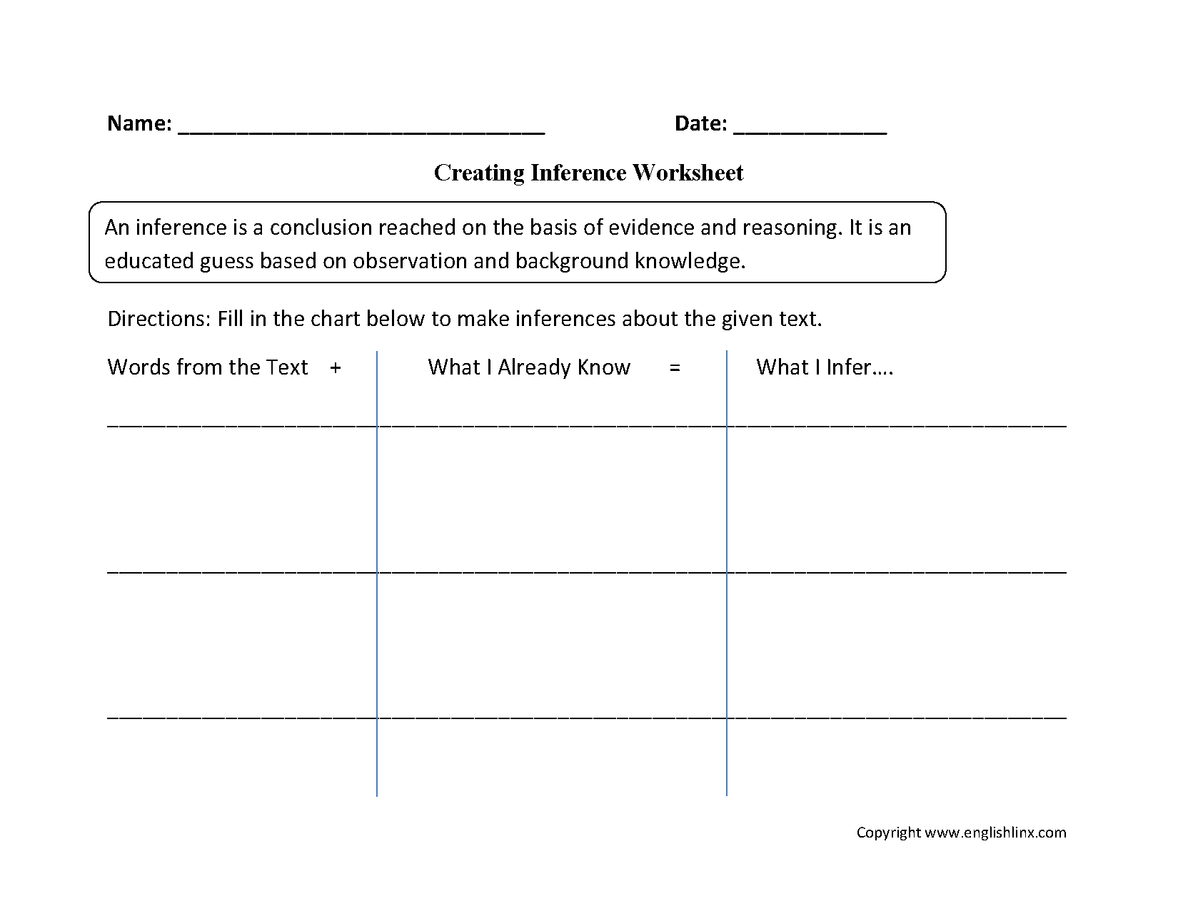 Creating Inference Worksheets