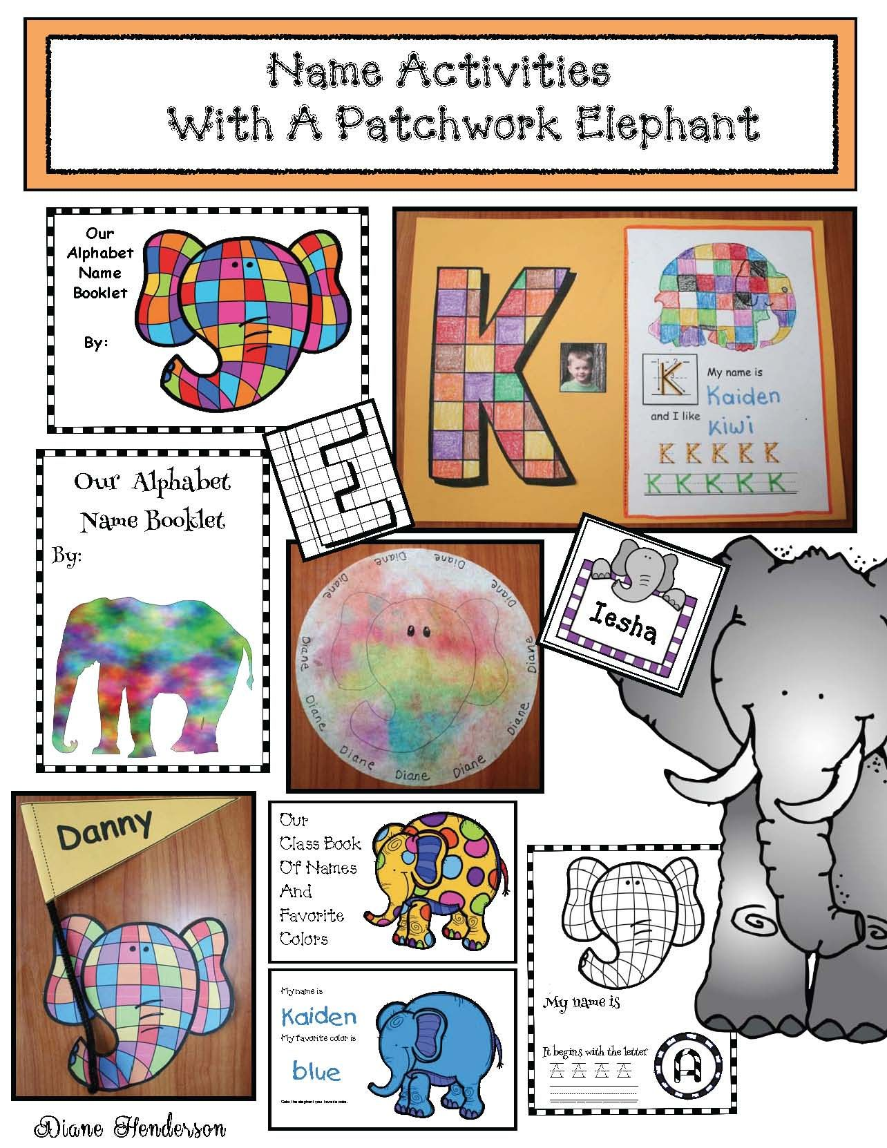 Elmer The Elephant Activities Name Writing Activities