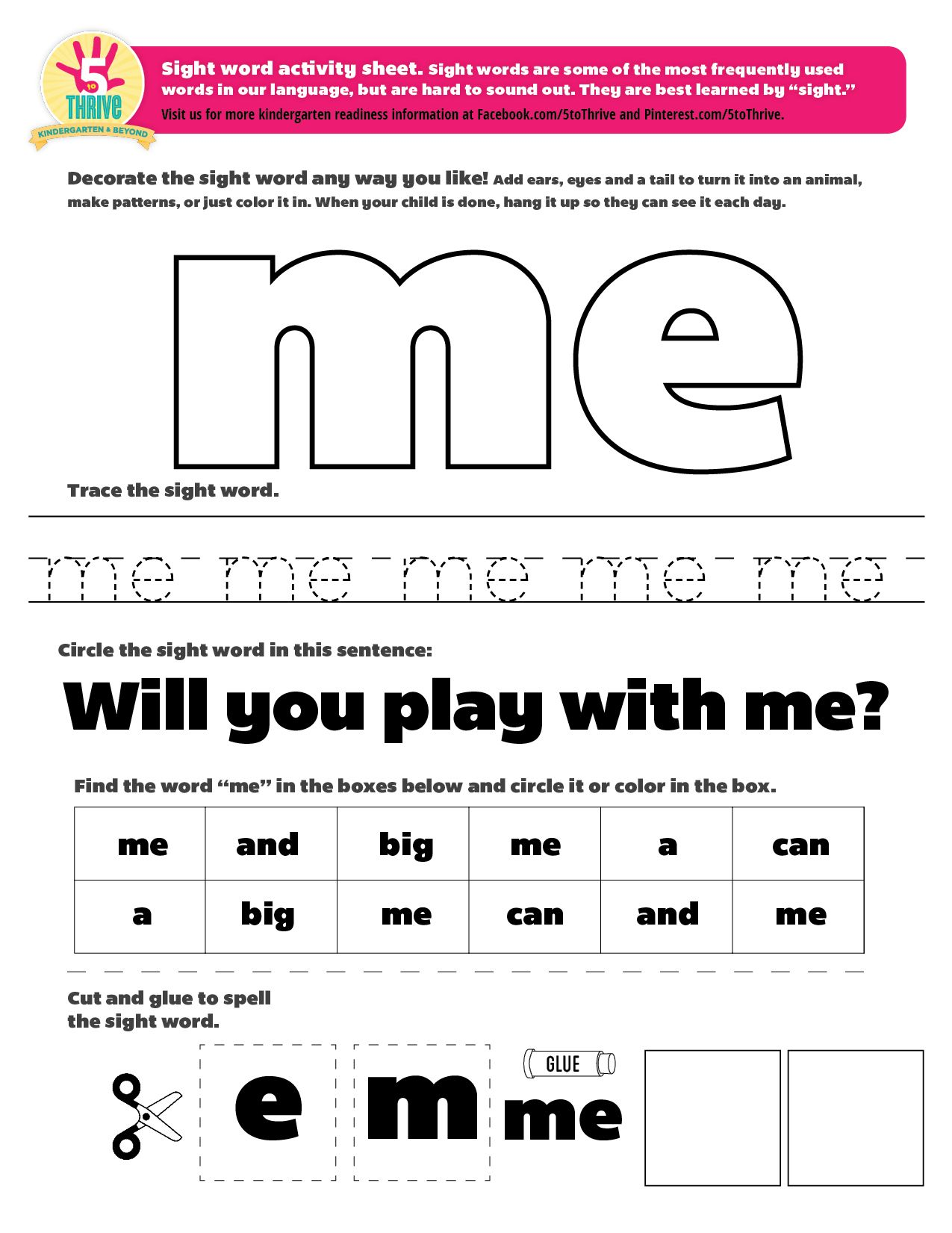 The Sight Word This Week Is Me Sight Words Are Some Of The Most Frequently Used Words In Our