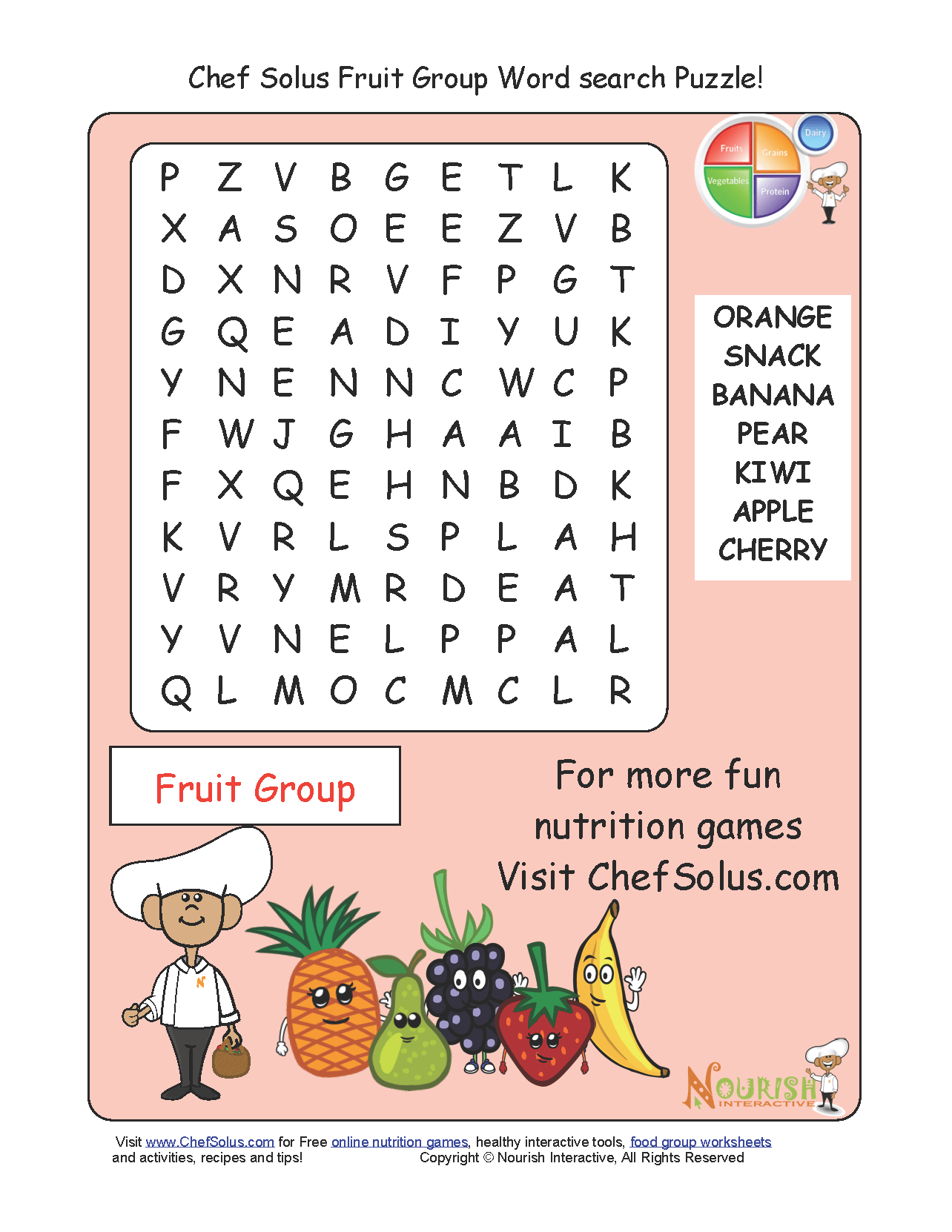 Challenge Your Little Chefs To A Fruit Group Word Search