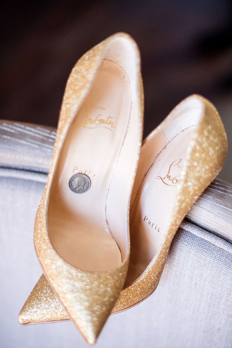 Gold sparkling Christian Louboutin wedding shoes | sodazzling.com