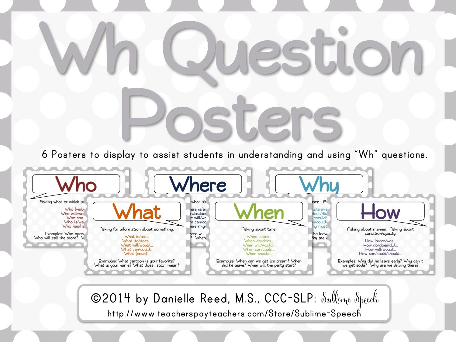 Wh Question Posters Freebie From Sublimespeech Check It