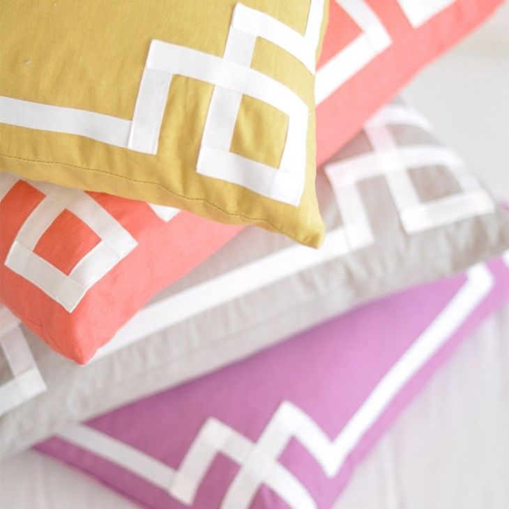 love the ribbon detail on these pillows Pillows Pinterest