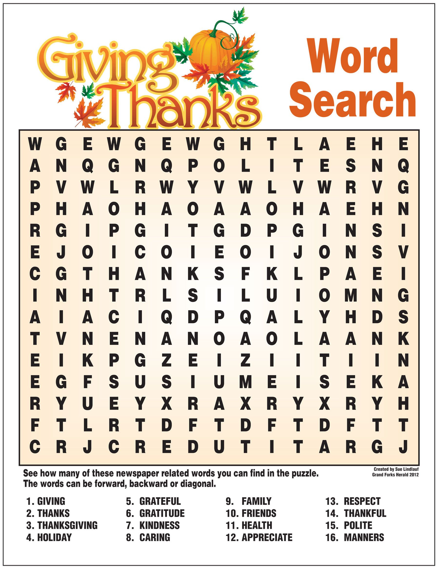 Giving Thanks Word Search