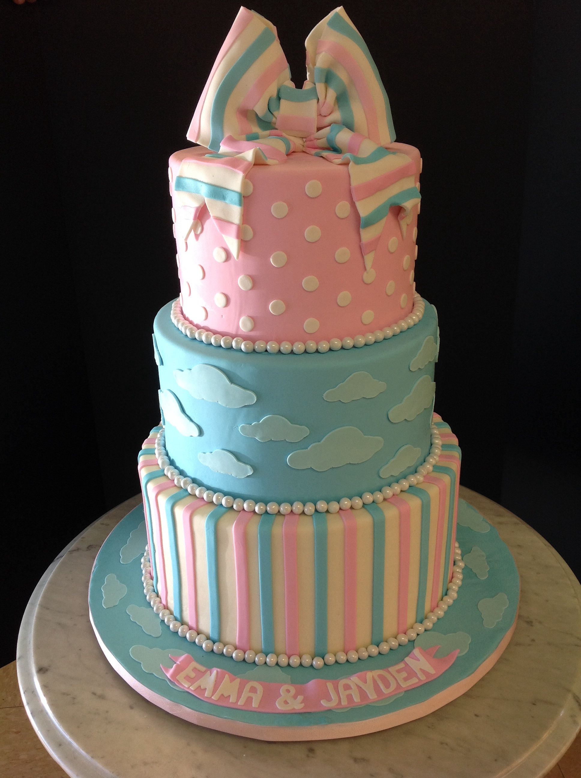Twin Boy And Girl Baby Shower Cake