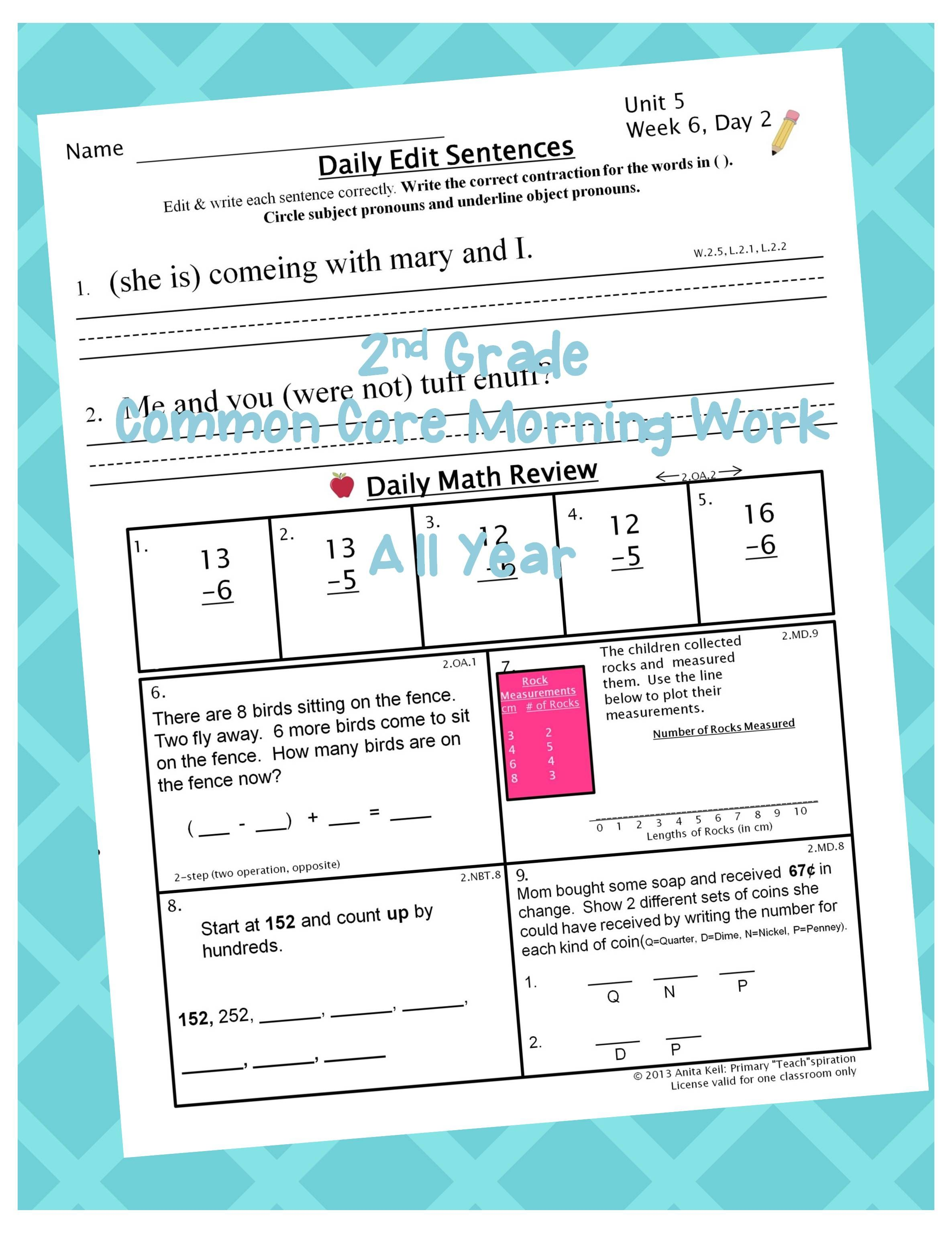 2nd Grade Morning Work A Daily Ela Amp Math Review